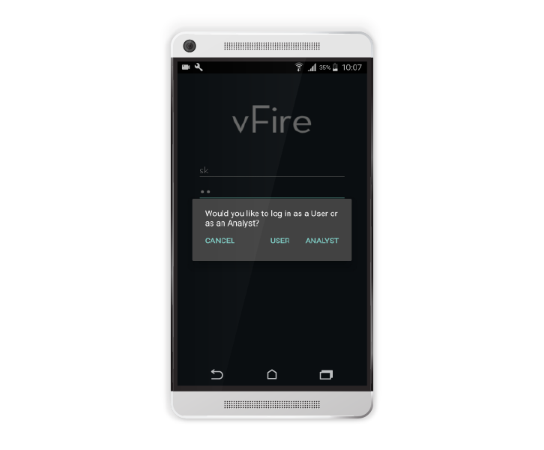 vFire App - Login Screen