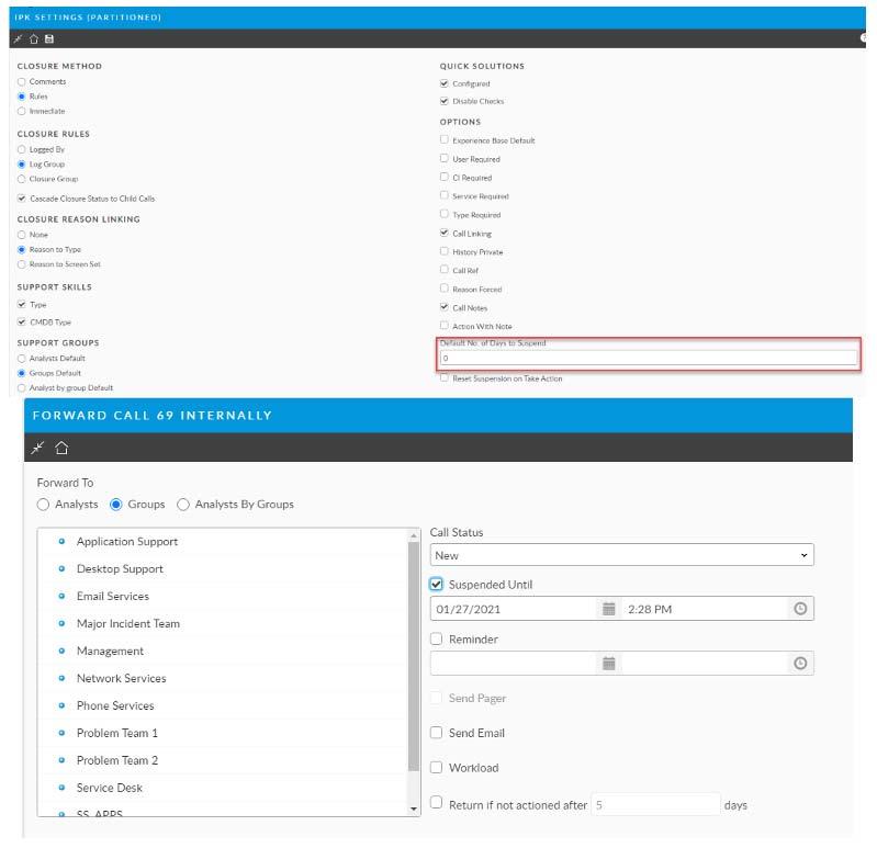 Setting default duration of call suspension screenshot