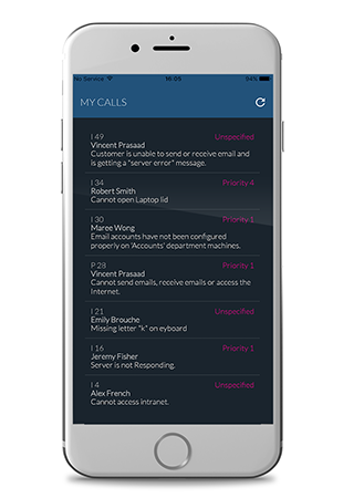 vFire App - log call screen